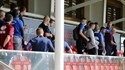 Vinte e seis treinadores a ver o treino do Benfica