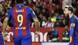 Messi e Suárez dão vitória em Sevilha