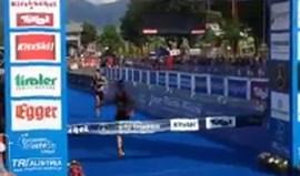 Triatlo: Campeão europeu João Pereira cortou a meta... e foi ao chão