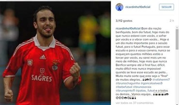 Ricardinho de corpo e alma no apoio ao Benfica