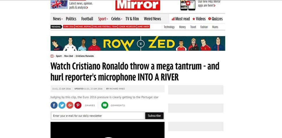 CR7 atira microfone da CM TV... e este está a dar a volta ao Mundo