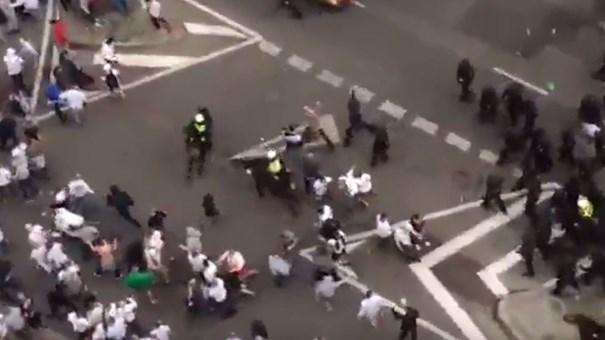 Polícia espanhola sofre às mãos dos hooligans do Legia em Madrid