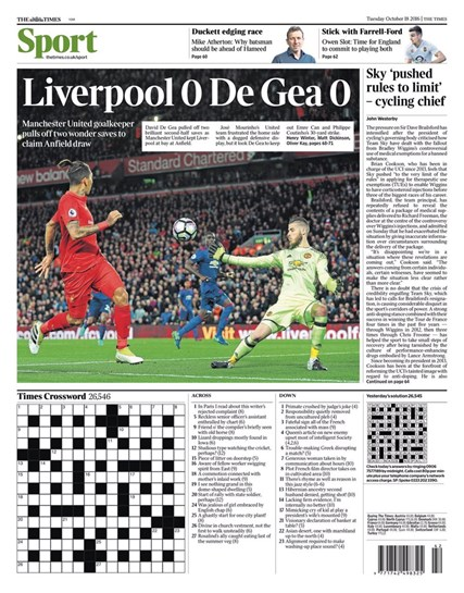 Autocarro de Mourinho e De Gea fazem capas em Inglaterra
