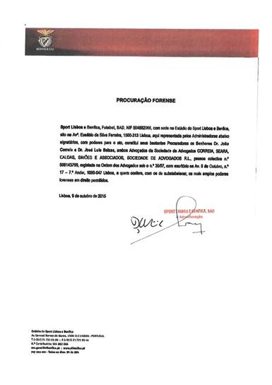 A carta enviada pelo Benfica a Fernando Gomes