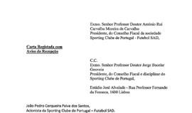 Leia a carta de João Pedro Paiva dos Santos ao Conselho Fiscal e Disciplinar da SAD