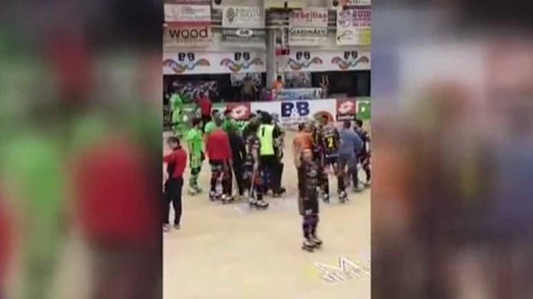 Jogo de hóquei em patins do Sporting em Itália acaba em confusão