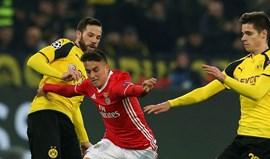 Benfica frente ao Dortmund: Cervi não dá para tudo