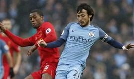 Manchester City e Liverpool ficaram a marcar passo