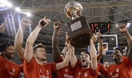 A festa do Benfica após a conquista da Taça de Portugal de basquetebol