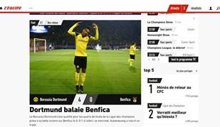 Do apagão das águias ao 'jogaço' de Aubameyang: O Dortmund-Benfica visto lá fora