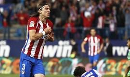 Golo solitário de Filipe Luís dá três pontos ao Atlético Madrid