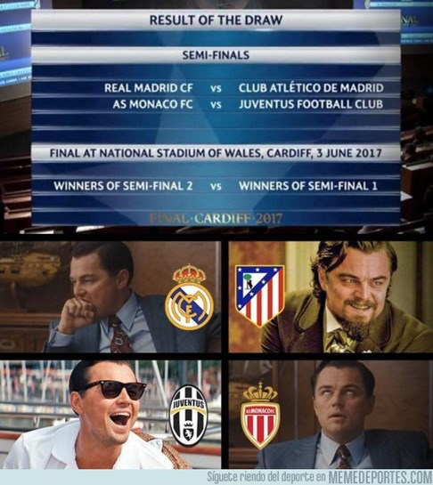 Terminou o sorteio da Champions e na Internet começaram as piadas