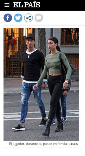 Ronaldo, Georgina e Cristianinho em passeio de família por Madrid