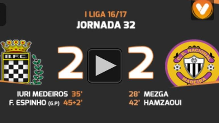 Os melhores momentos do Boavista-Nacional (2-2)
