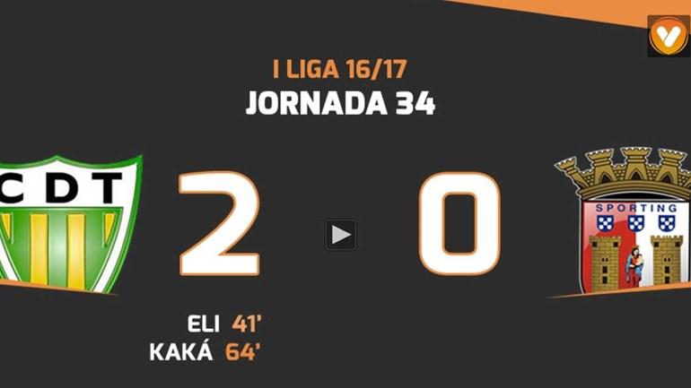 Os melhores momentos do Tondela-Sp. Braga (2-0)