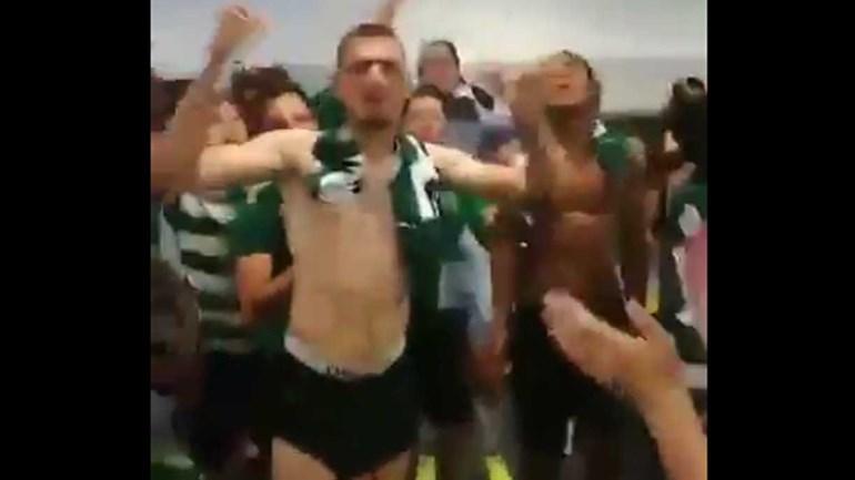 Balneário do Sporting em loucura com o título de juniores