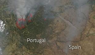 NASA publica foto impressionante dos incêndios em Portugal