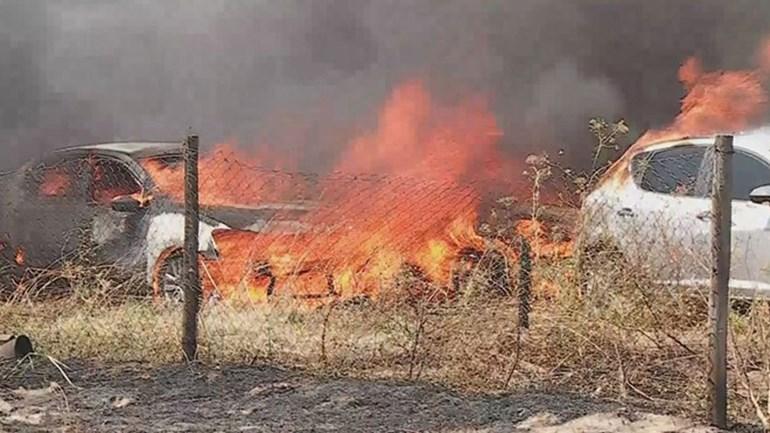 Fogo destrói viaturas em estacionamento em Faro