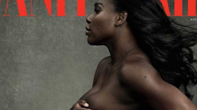 Serena Williams nua na capa da 'Vanity Fair' grávida de 7 meses