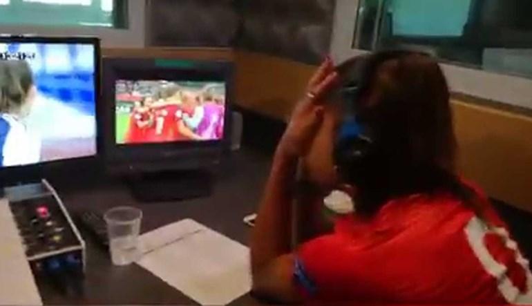 Jéssica Silva em lágrimas a festejar vitória portuguesa