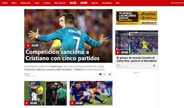 Cristiano Ronaldo em grande destaque na imprensa pelos piores motivos