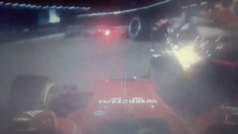 Caos na partida do GP de Singapura deu em acidente aparatoso