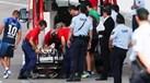 Susto no jogo do Canelas: o momento em que Belkaroui cai e sai de campo de ambulância