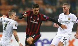 Grupo D: AC Milan travado pelo AEK Atenas