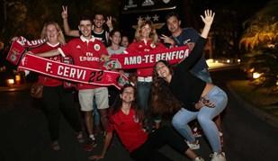 Muito apoio na chegada do Benfica ao Algarve
