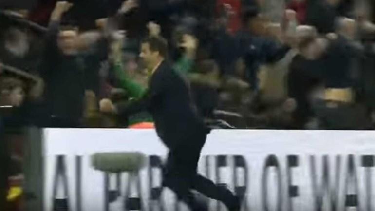 Marco Silva 'explodiu' de alegria com o golo de Cleverly
