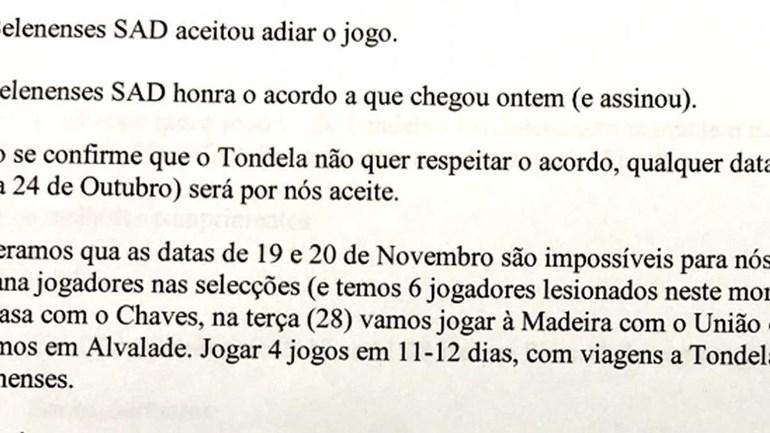 Belenenses divulga troca de emails sobre jogo com o Tondela