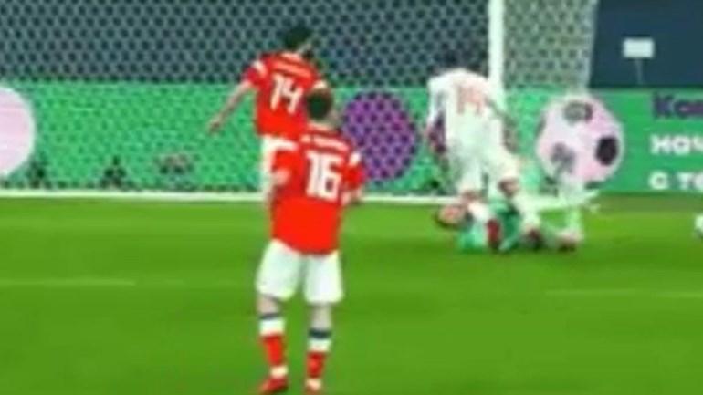 Choque arrepiante entre Rodrigo e o guarda-redes Lunev