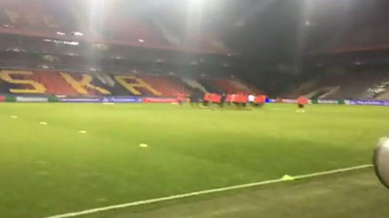 Baixa no último treino do Benfica antes do CSKA Moscovo