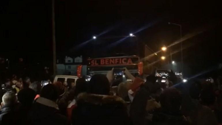 Assim foi a chegada do Benfica a Tondela