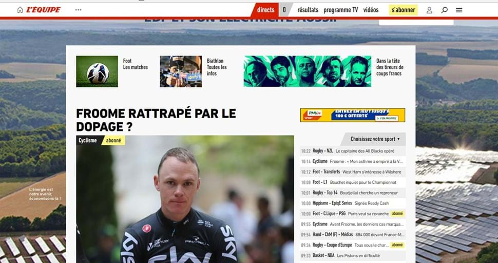 Tetracampeão do Tour de France, Chris Froome é flagrado em exame antidoping
