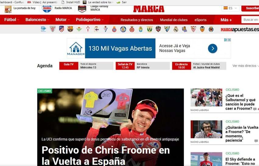 Chris Froome acusa positivo em controlo