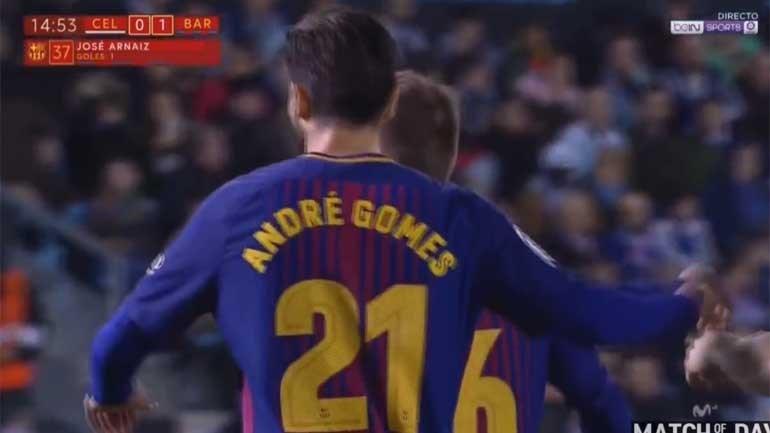 André Gomes em destaque no golo do Barcelona