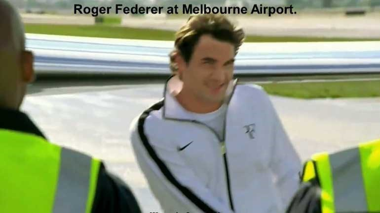 Federer arrastou as 20 taças no aeroporto de Melbourne