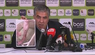 Presidente do Tondela mostra estado da perna de Bruno Monteiro