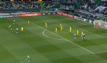 Longa distância de Bruno Fernandes a fazer estragos na Liga Europa: mais um grande golo