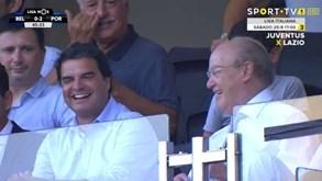 Rui Pedro Soares e Pinto da Costa animados após segundo golo do FC Porto
