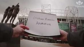 Ronaldo de Manchester a Madrid em desenhos animados
