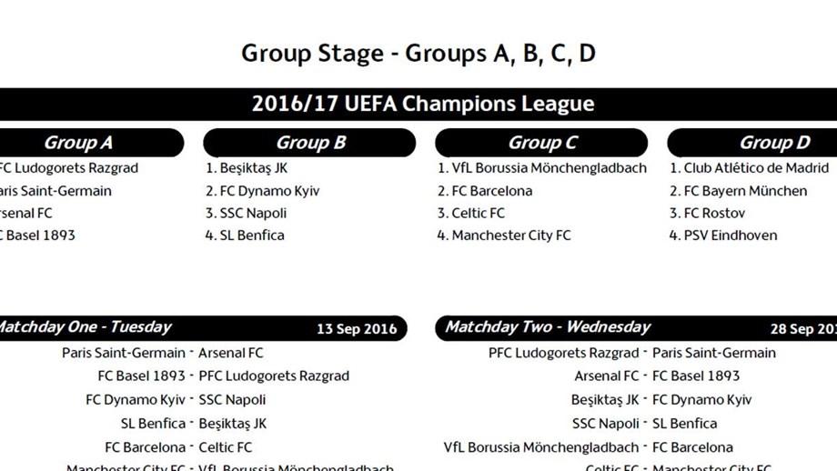Champion Liga Calendario.O Calendario Completo Da Fase De Grupos Da Liga Dos Campeoes