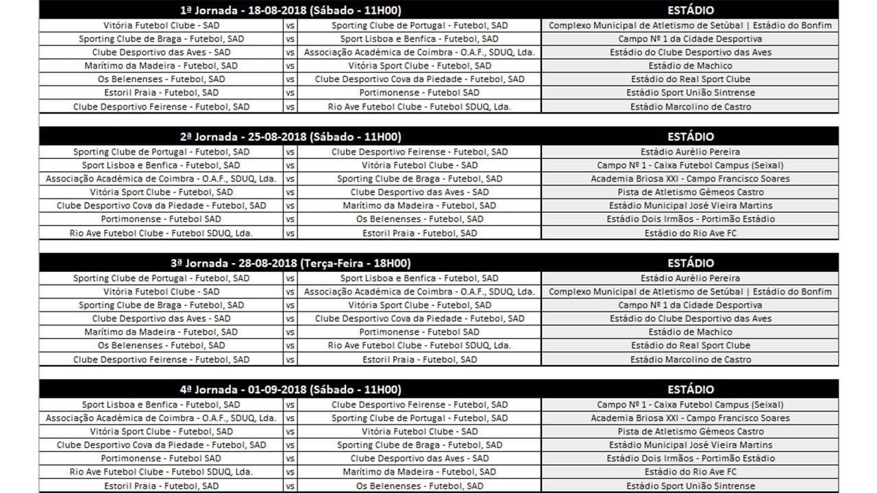 Liga Calendario.O Calendario Completo Da Liga Revelacao Fotogalerias Jornal Record