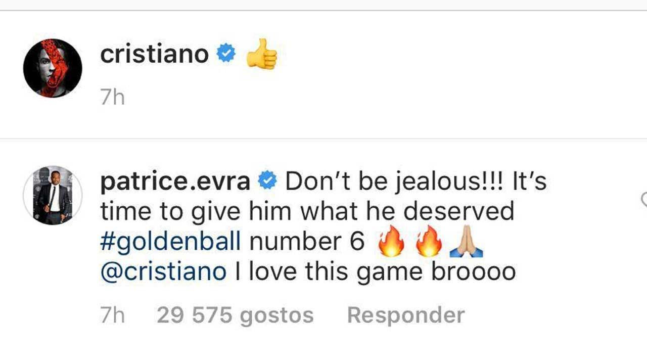 Comentário de Evra no Instagram
