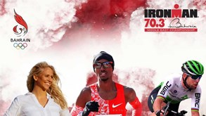 Mo Farah e Mark Cavendish juntos no IRONMAN 70.3 do Bahrain