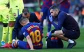 Jordi Alba lesionou-se na liga espanhola frente ao Getafe e está em dúvida