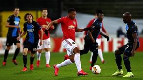 Manchester United-Club Brugge: Bruno Fernandes e Dalot em ação