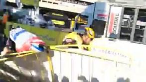 Assustador: vídeo amador mostra violência da queda no final da 1.ª etapa da Volta à Polónia