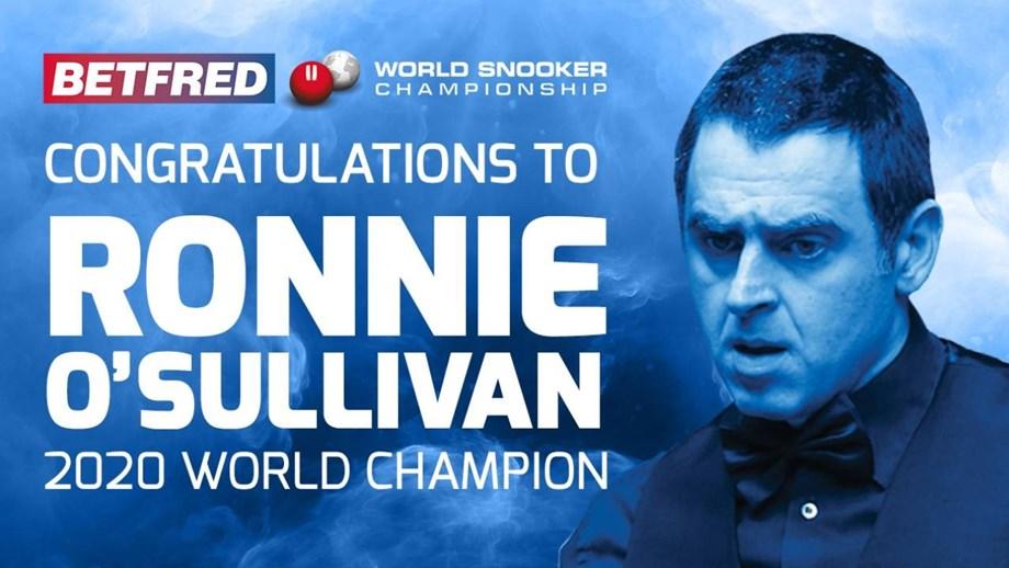Ronnie O'Sullivan campeão do mundo de snooker pela sexta vez